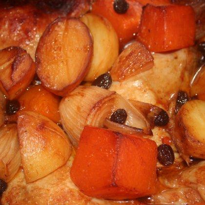 עוף, דלעת ותפודים בתנור