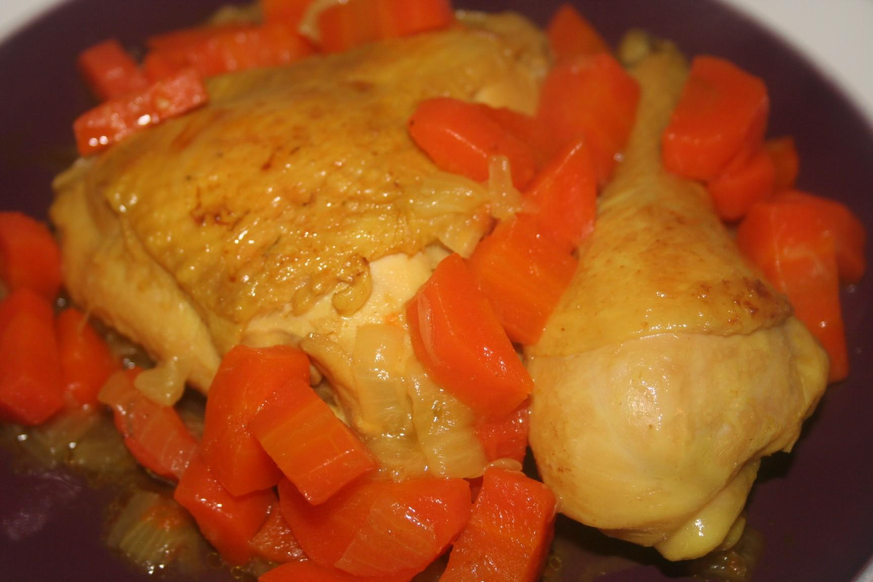 צלי עוף עם גזר ובצל