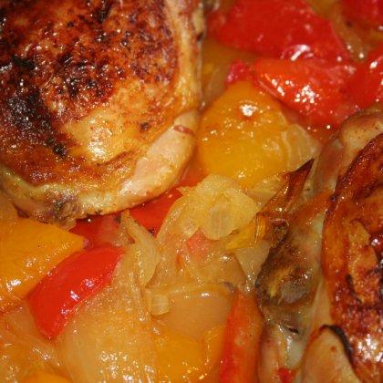 עוף ופלפלים בתנור