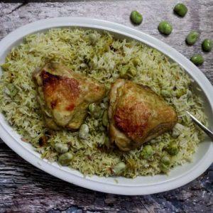 עוף אורז ופול בקארי ירוק וחרפרף בתנור