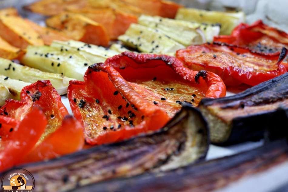 ירקות וקצח צלויים בתנור