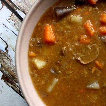 מרק תפוחי אדמה בצבעים ופטריות / Colorful potato soup and mushrooms