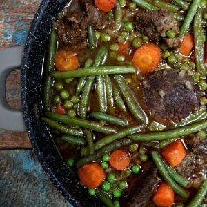 בשר שעועית ירוקה אפונה וגזר