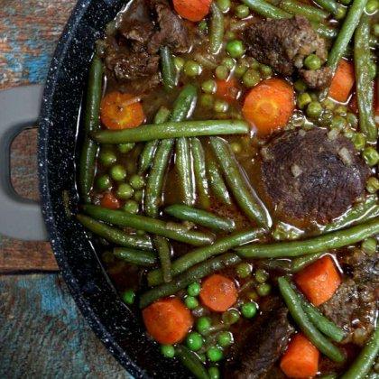 בשר שעועית ירוקה אפונה וגזר / Green bean meat peas and carrots