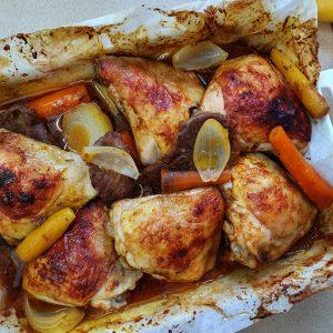 רצועות בשר סינטה, עוף וירקות בתנור