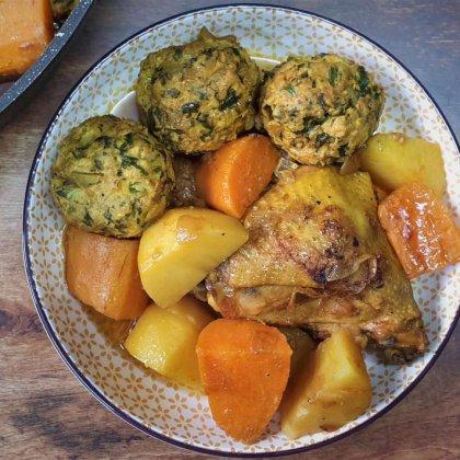 עוף כדורי עוף בטטה ותפוחי אדמה