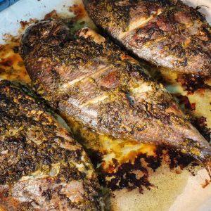 דגי דניס ברוטב לימון וכוסברה בתנור